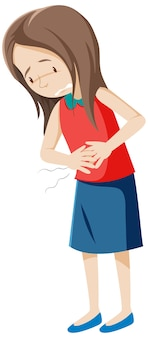 Femme malade ayant mal au ventre sur blanc