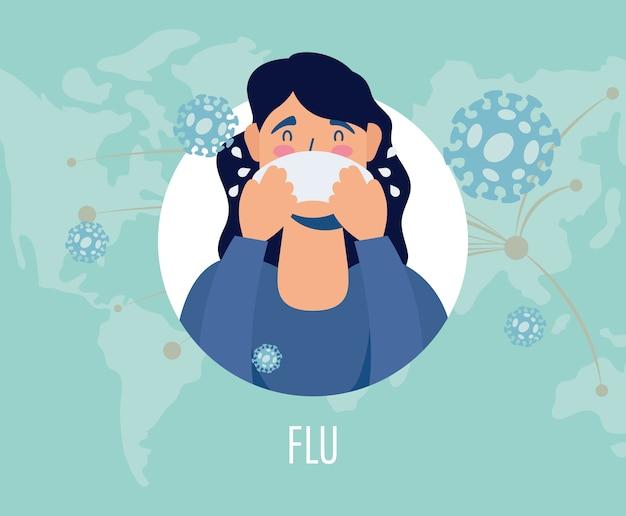 Femme malade avec le caractère de symptôme de la grippe covid19