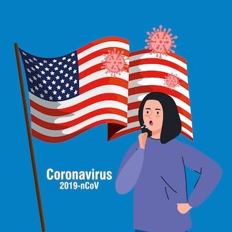 Femme malade avec le drapeau des états-unis pandémie de covid19