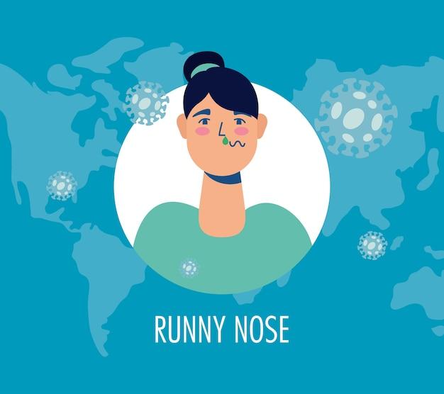 Femme malade avec le nez qui coule covid19 symptôme caractère