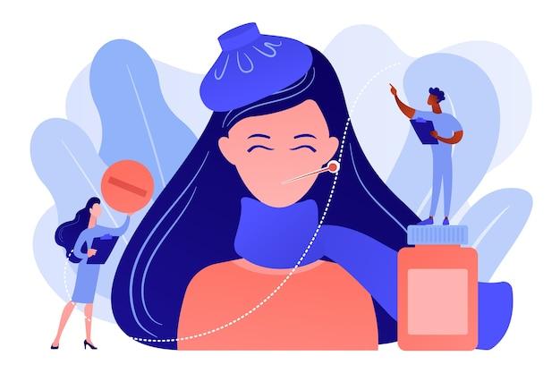 Femme malade avec symptômes de grippe et du rhume et médecins, personnes minuscules. grippe saisonnière, maladie respiratoire contagieuse, concept de traitement des virus de la grippe. illustration isolée de vecteur bleu corail rose