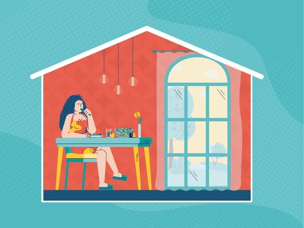 Femme mangeant de la nourriture à la maison - fille de dessin animé assis à la table de la cuisine avec repas