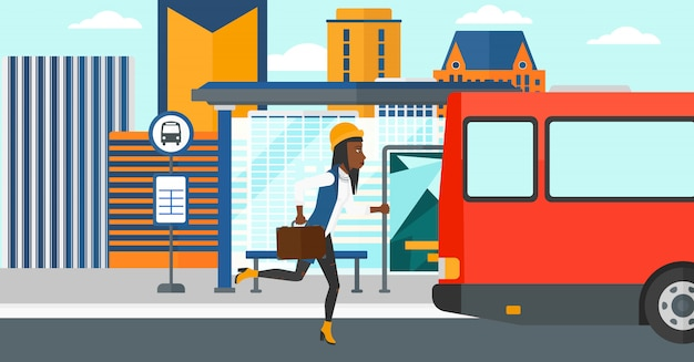 Femme manquant de bus