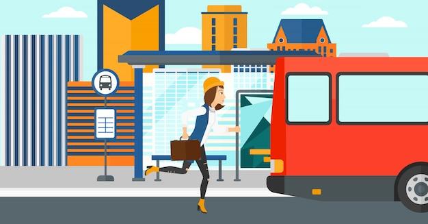 Femme manquant de bus.