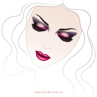 Femme avec maquillage