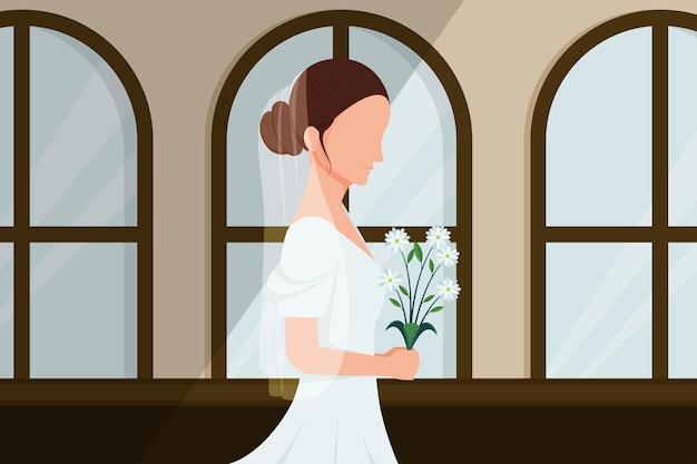 Femme marchant avec un bouquet de fleurs pour se marier