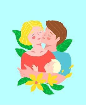 Femme et mari ou jeune couple romantique se tenant les uns les autres et un enfant, embrassant joue contre joue avec des fleurs colorées.