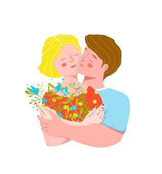 Femme et mari ou jeune couple romantique se tenant, embrassant joue contre joue avec des fleurs.