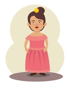 Femme mariachi mexicaine avec coiffure et robe pour événement