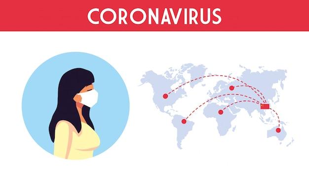 Femme avec masque et carte du monde avec la conception de vecteur de virus covid 19