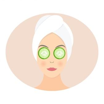 Femme, masque, concombre, yeux