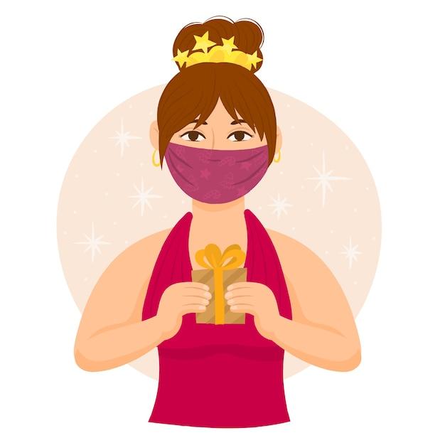 Femme avec masque facial offrant un cadeau