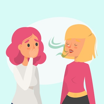 Femme avec mauvaise haleine parlant à un ami