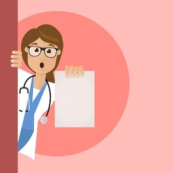Une femme médecin en blouse blanche tient un résultat de test dans sa main. la note est noire. médecin surpris, choqué par les résultats des tests