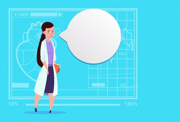Femme médecin, à, bulle bulle, clinique, ouvrier, clinique