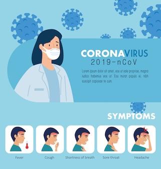 Femme médecin avec campagne de symptômes coronavirus 2019 ncov