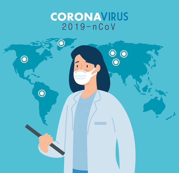 Femme médecin dans l'affiche du coronavirus 2019 ncov