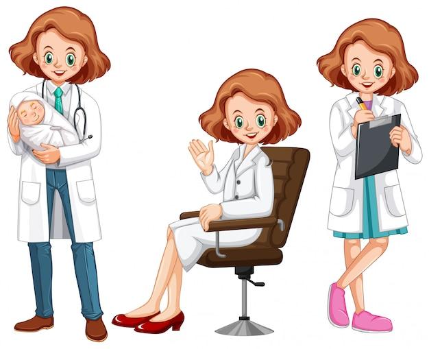 Femme médecin dans différentes actions