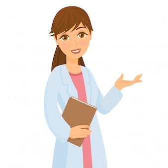 Femme médecin avec dossier en mains