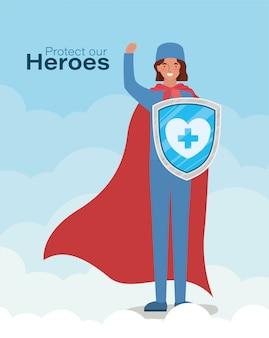Femme médecin héros avec cape et bouclier contre la conception du virus ncov 2019 des symptômes de la maladie épidémique covid 19 et illustration de thème médical