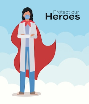 Femme médecin héros avec cape contre 2019 virus ncov conception de covid 19 cov infection corona épidémie maladie symptômes et médical thème illustration