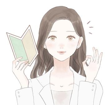 Femme médecin avec marque de débutant, signe ing ok. sur un fond blanc.