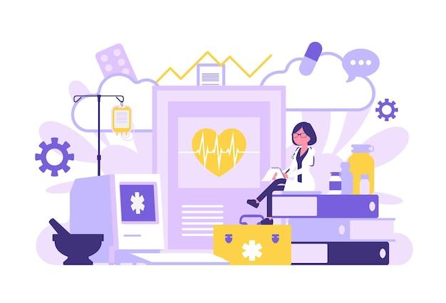 Femme médecin, médecin généraliste travaillant. clinique professionnelle et équipement hospitalier géant, dossiers et papier d'examen. médecine, concept de soins de santé. illustration vectorielle avec des personnages sans visage