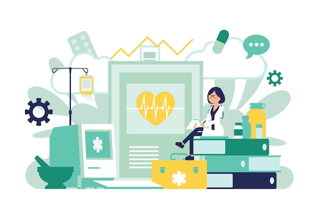 Femme médecin, médecin généraliste travaillant