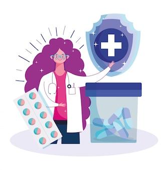 Femme médecin et médecine pilules et capsule prescription médicale soins de santé vaccination illustration