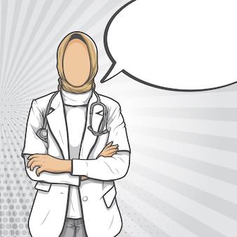 Femme médecin musulmane portant hijab pop art illustration rétro