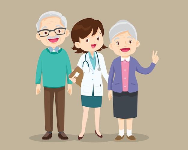 Femme médecin et patient plus âgé heureux