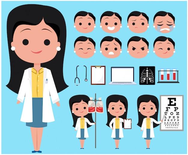 Femme médecin personnage avatar