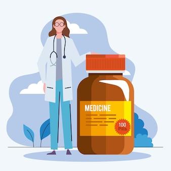 Femme médecin avec des pilules