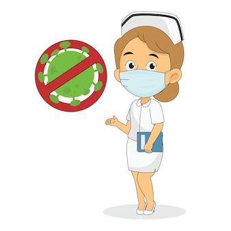 Femme médecin portant un masque de protection avec signe anti-virus
