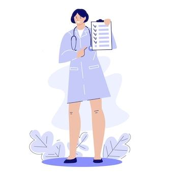Femme médecin avec presse-papiers recommandations pour le traitement et la santé