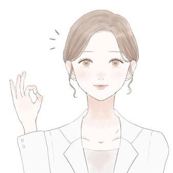 Une femme médecin qui signe bien. sur un fond blanc.