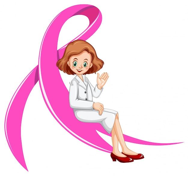 Femme médecin et ruban rose