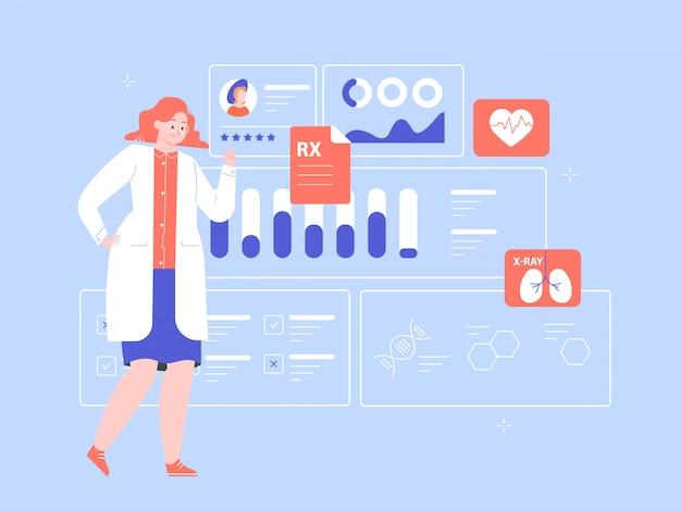 Femme médecin scientifique avec un tableau de bord médical. diagnostic des maladies, tests médicaux, traitement efficace. tableau de bord avec des informations sur la santé des patients. illustration plate.