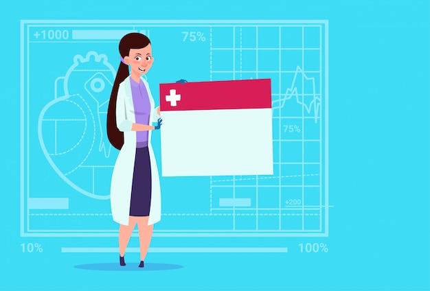 Femme médecin tenant un diagnostic vide bannière clinique médicale hôpital ouvrier