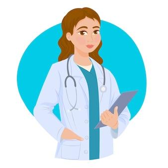 Femme médecin tenant un presse-papiers
