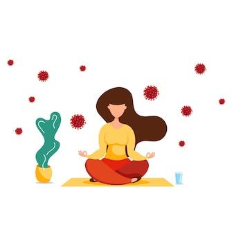 Femme méditant en position du lotus avec des cellules de coronavirus autour.