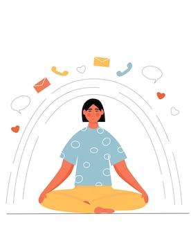 Femme méditant en posture de lotus. détox numérique. hors ligne.