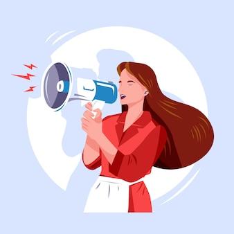 Femme avec mégaphone criant concept