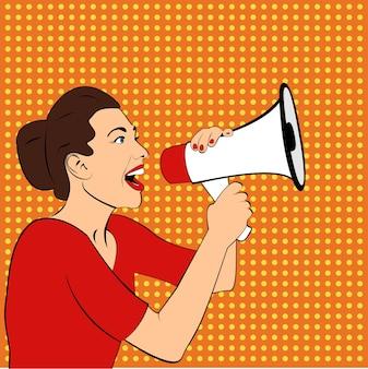 Femme avec mégaphone ou haut-parleur