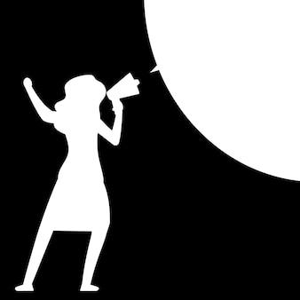 Femme avec mégaphone. silhouette de femme avec mégaphone avec bulle de dialogue