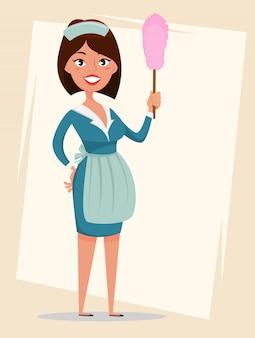 Femme de ménage, jolie fille souriante