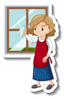 Femme de ménage nettoyant l'autocollant de dessin animé de fenêtre