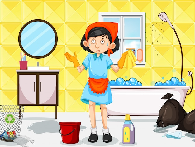 Une femme de ménage nettoyant les toilettes sales