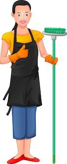 Femme de ménage pose et pouces vers le haut