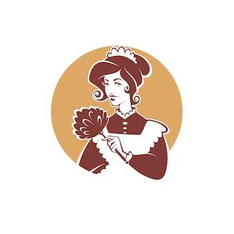 Femme de ménage rétro, emblème de nettoyage, logo, étiquette